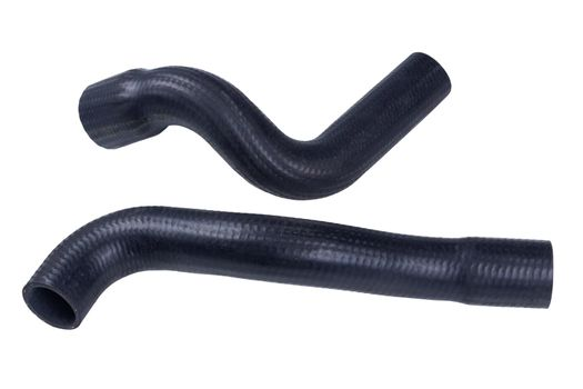 the radiator pipe made of black hard rubber new car spare part isolated on white background.