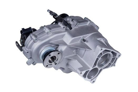 Transfer case of a Russian car, isolated on a white background