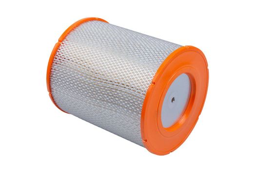 Car oil and air filter on a white background isolated. Auto Parts. Spare parts for the repair of cars.