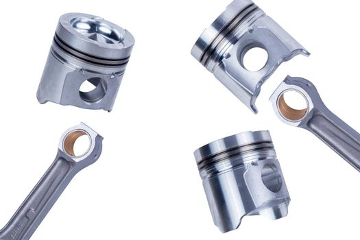 Truck pistons on grey background
