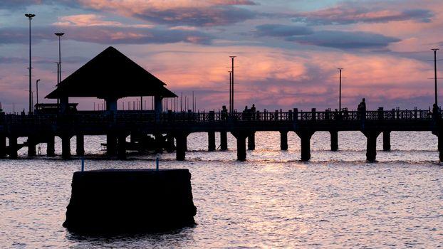 Bangsan Chonburi Thailand jetty and sunset. At Bangsan beach