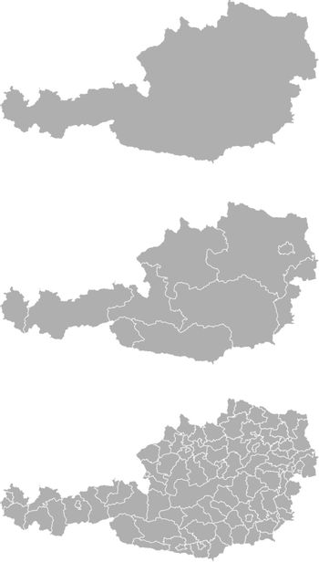 Vector map of Austria administrative regions and areas