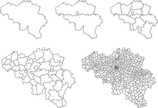 Vector map of Belgium administrative regions and areas