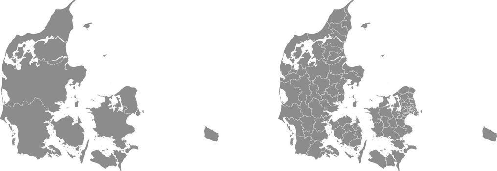 Vector map of Denmark administrative regions and areas