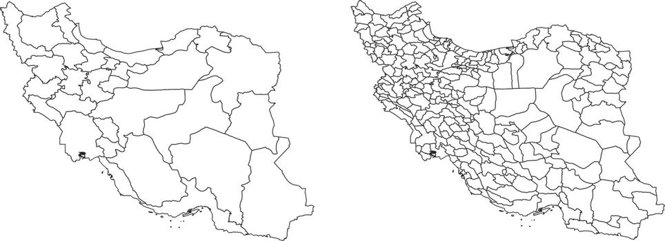 Vector map of Iran regions and administrative areas