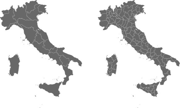 Vector map of Italy regions and administrative areas