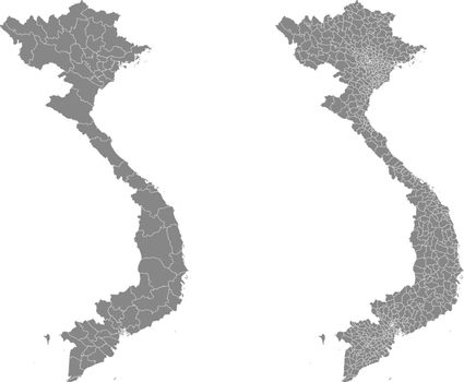 Vector map of Vietnam regions and administrative areas