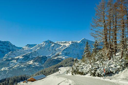 Beautiful mountain winter landscapes. Alps in winter. Grindelwald Switzerland