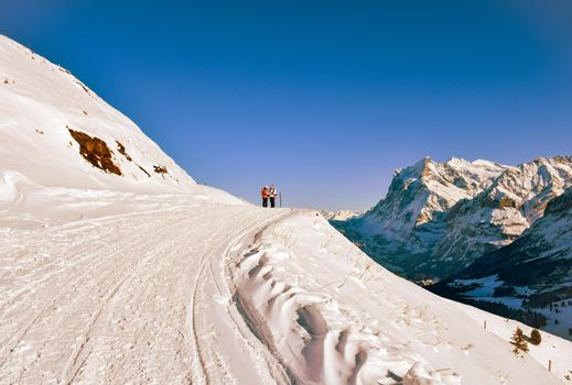 Beautiful winter mountain landscape in Sunny weather with views of Grindelwald, Bernese Oberland Switzerland.