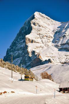 The North wall of Eiger peak in winter. Grindelwald Switzerland