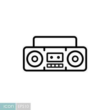Boombox cassette stereo recorder vector icon