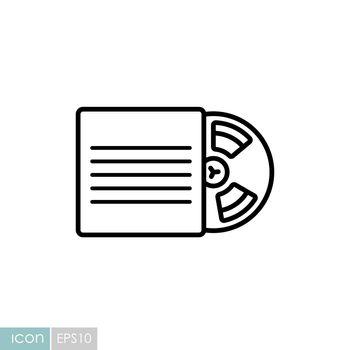 Magnetic tape reel, retro music tape storage icon