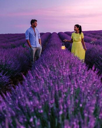 couple on vacation in the Provence France visiting the lavender fields of the Provence France