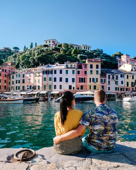 couple mid age on vacation at the Italian Rivera visit Portofino Italy Liguria coast