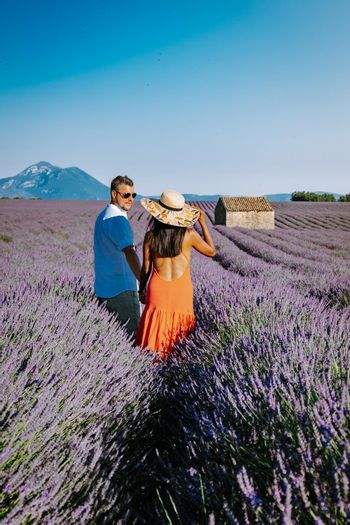 Provence, Lavender field France, Valensole Plateau, colorful field of Lavender Valensole Plateau, Provence, Southern France. Lavender field. Europe. Couple men and woman on vacation at the provence lavender fields,
