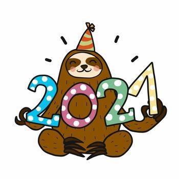 2021 Sloth celebrating new year cartoon vector illustration