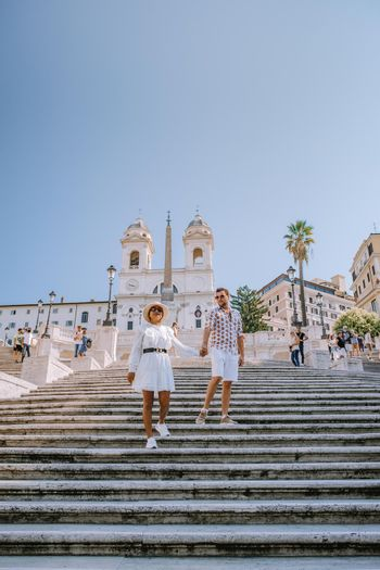The Spanish Steps in Rome, Italy. The famous place is a great example of Roman Baroque Style