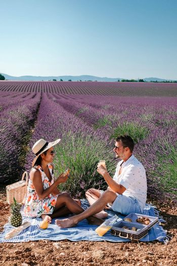 couple on vacation in the Provence France visiting the lavender fields of the Provence France. Europe