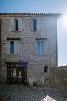 Les Baux de Provence France June 2020, old historical village build on a hill in the Provence, Les Baux de Provence village on the rock formation and its castle. France, Europe