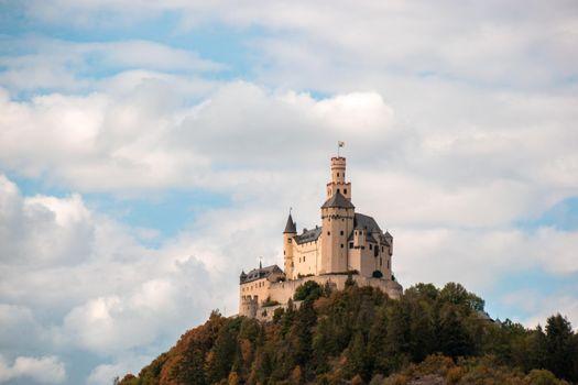 Romantic castles near Koblenz alongside the rhine rhein river germany, Marksburg castle by Braubach Germany Koblenz