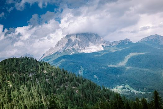 hiking Italian Dolomites,Beautiful Lake Sorapis Lago di Sorapis in Dolomites, popular travel destination in Italy