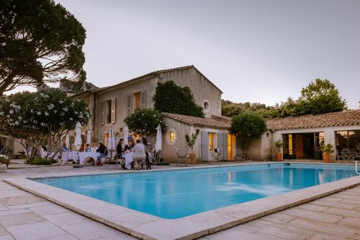 luxury hotel Provence France during sunset with swimming pool