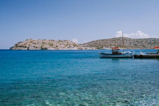 Tropical beach of Voulisma beach, Istron, Crete, Greece ,Most beautiful beaches of Crete island -Istron bay near Agios Nikolaos