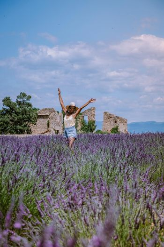 Provence, Lavender field France, Valensole Plateau, colorful field of Lavender Valensole Plateau, Provence, Southern France. Lavender field. Europe. woman on vacation at the provence lavender fields,
