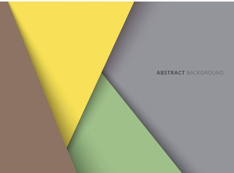 Template geometric triangle yellow, green, brown color overlapping layer with shadow on gray background. Vector illustration