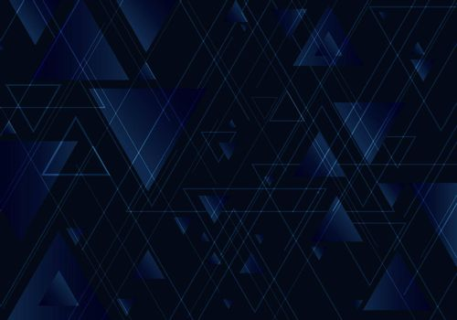 Abstract blue triangles shape and lines on black background for business technology style. Geometric design element for elegant with copy space. Vector illustration