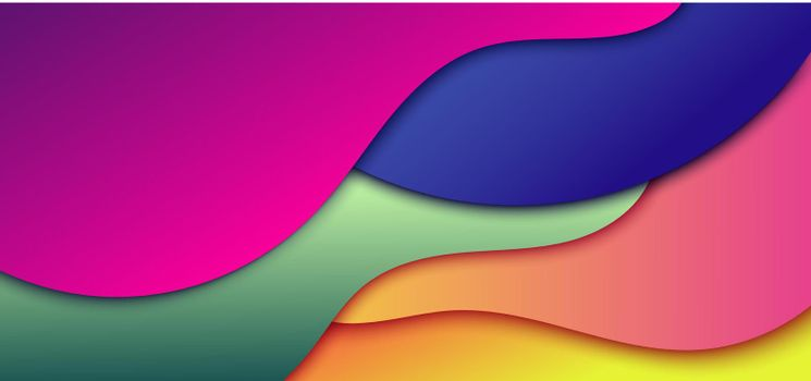 Abstract dynamic 3D gradient color wave shape background. Banner web vibrant color fluid or liquid shape with shadow. Vector illustration