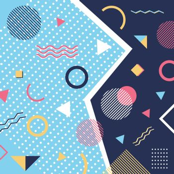 Abstract trendy pattern background geometric elements memphis style. Vector illustration