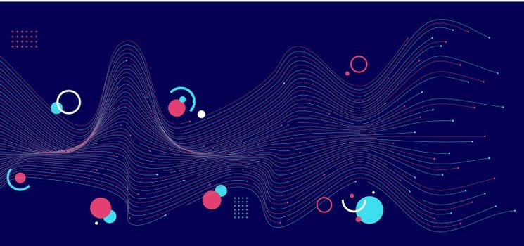 Abstract blue and pink wave lines with geometric on dark blue background. Technology digital data communication science concept. Vector illustration
