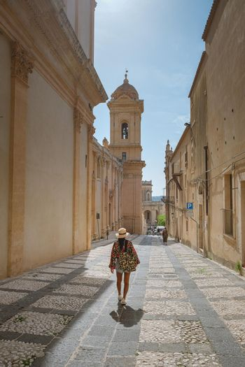 Sicily Italy, view of Noto old town and Noto Cathedral, Sicily, Italy. beautiful and typical streets and stairs in the baroque town of Noto in the province of Syracuse in Sicily