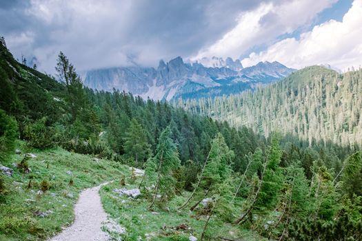 hiking in the Italian Dolomites,Beautiful Lake Sorapis Lago di Sorapis in Dolomites, popular travel destination in Italy. Europe
