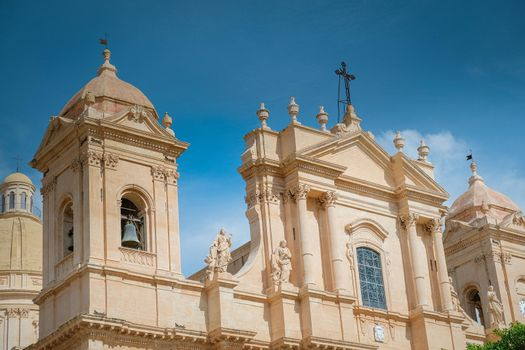 Sicily Italy, view of Noto old town and Noto Cathedral, Sicily, Italy.
