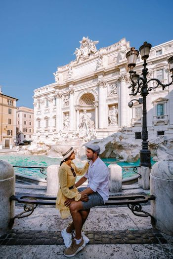 Trevi Fountain, rome, Italy. City trip Rome couple on city trip in Rome