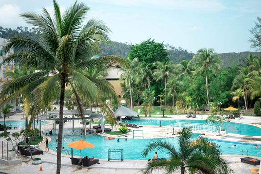 Hotel resort and swimming pool area in waterfront Batam, Indonesia, May 4 2019