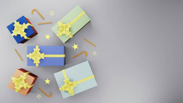 Colorful gift box with golden ribbon and gold star