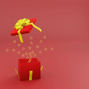 Open red gift box with golden ribbon and spread star