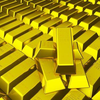 Pile of fine gold bar 999.9 g