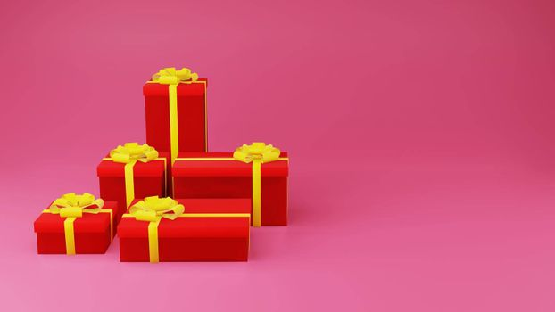 Red gift box with golden ribbon on pink background