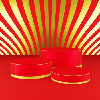 Red cylinder podium with golden girdle Chinese new year season
