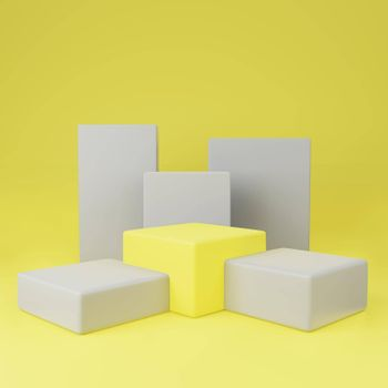 Yellow cube podium between gray on yellow background copy space