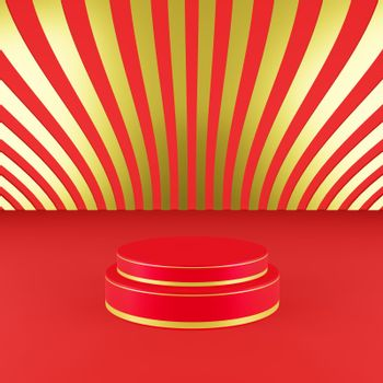 Red podium with golden girdle Chinese new year season concept