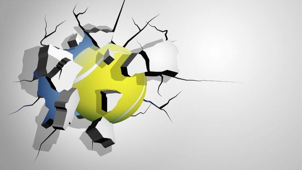tennis ball punched through the wall and breaks into shards, cracks on wall. Inflicting heavy damage. Vector