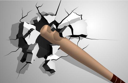 sports wooden baseball bat breaks wall into shards, cracks on wall. Inflicting heavy damage. Vector