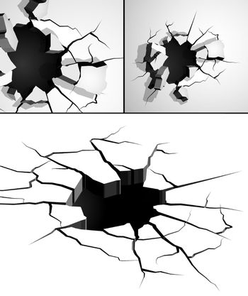 set of cracks in wall on white background. Breaking surface from strong impact. Fault line. Vector
