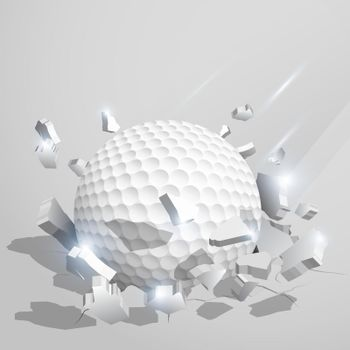 sport ball for golf crashed into the ground at high speed and breaks into shards, cracks after perfect hit. Inflicting heavy damage. Vector