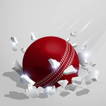 sport red cricket ball crashed into the ground at high speed and breaks into shards, cracks after perfect hit. Inflicting heavy damage. Vector